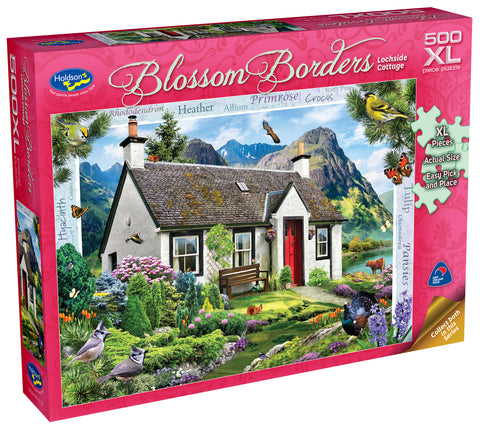 Holdson XL: 500 Piece Puzzle - Blossom Borders (Lochside Cottage)