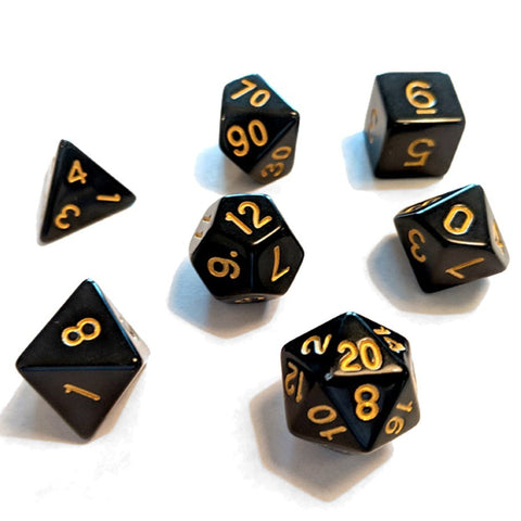 Sirius Dice Polyhedral Dice Set - Black/Gold