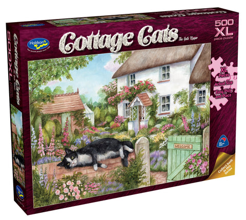 Holdson XL: 500 Piece Puzzle - Cottage Cats (The Gate Keeper)