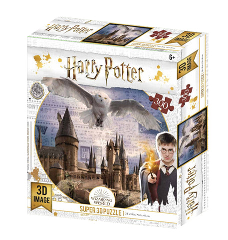 Super 3D: 300-Piece Jigsaw Puzzle - Harry Potter: Hogwarts & Hedwig