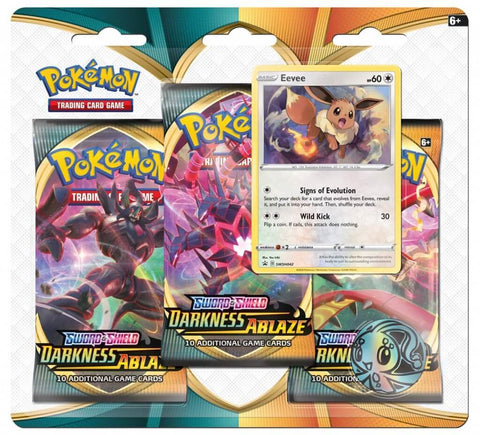 Pokemon TCG: Sword and Shield Darkness Ablaze - Three Booster Blister (Eevee)
