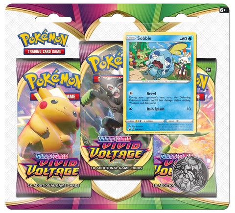 Pokemon TCG: Sword and Shield Vivid Voltage Three Booster Blister - Sobble