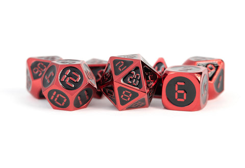 MDG: Metal Enamel Dice - Red with Black Enamel