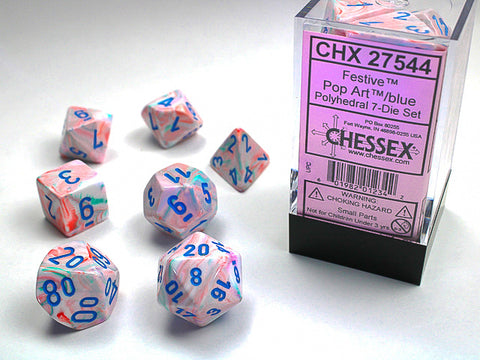 Chessex: Festive Pop Art w/blue Signature Polyhedral 7-Die Set