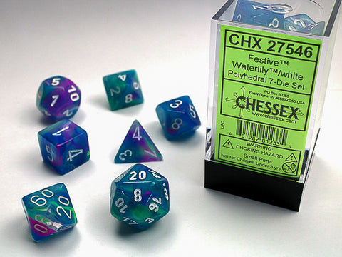 Chessex: Festive Waterlily w/white Signature Polyhedral 7-Die Set