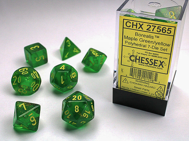 Chessex: Borealis Maple Green/yellow Signature Polyhedral 7-Die Set