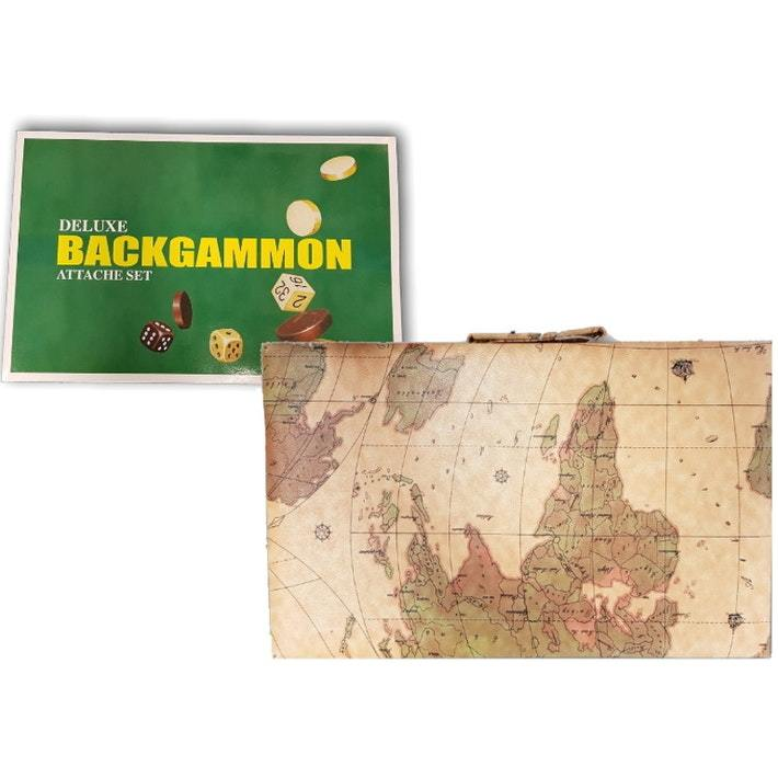 "Backgammon 18"" Case - Yellow World Map"