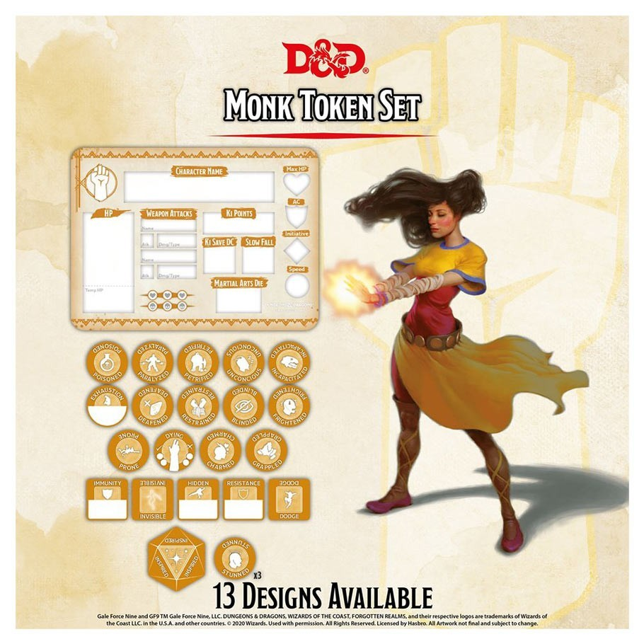 Dungeons & Dragons: Character Tokens: - Monk Token Set