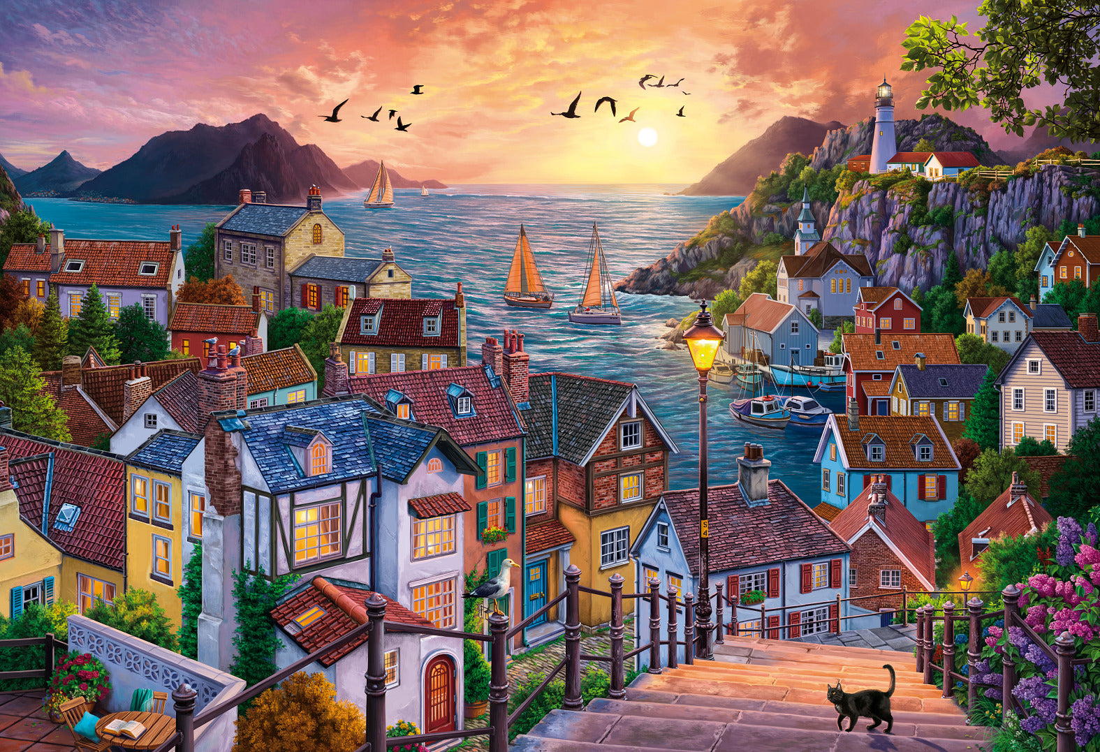 Holdson: 1,000-Piece Puzzle - Sunsets S4 (Coastal Town at Sunset)