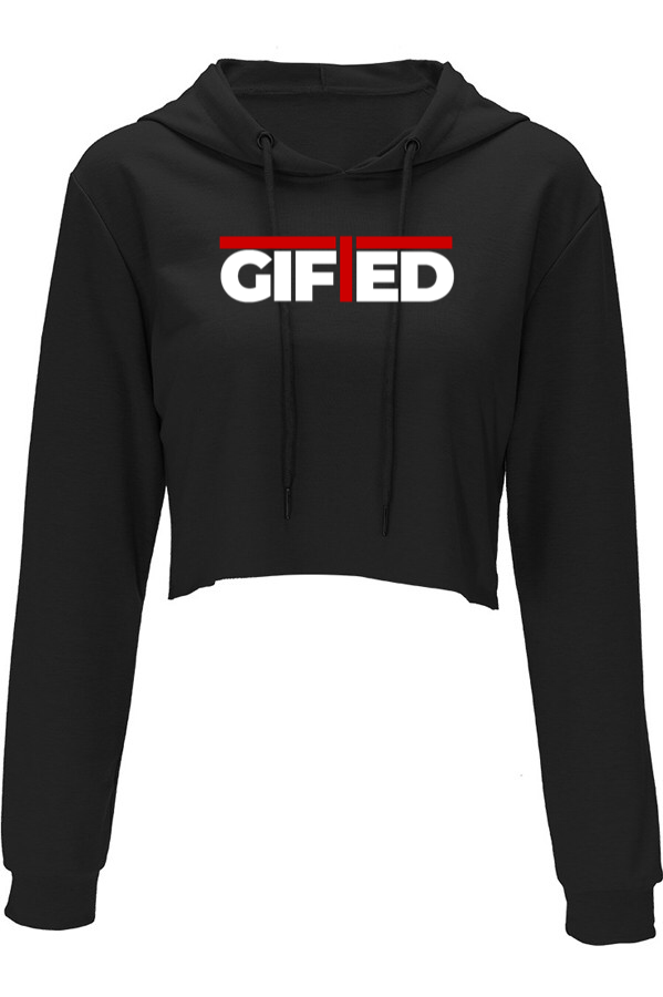 Ladies GIFTED Black Crop Top Hoodie
