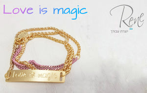 צמיד ורוד עתיק ונחש זהב עם פלטת זהב Love is magic