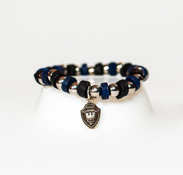 Beaded Bracelet Black/Navy Leather
