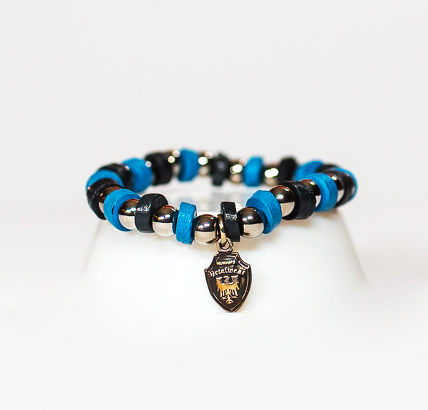Beaded Bracelet Black/Light Blue Leather