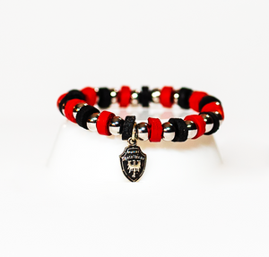 Beaded Bracelet Ferrari Red and Black Leather with Stainless Beads