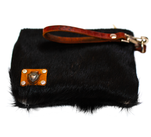Cow Fur Black Clutch