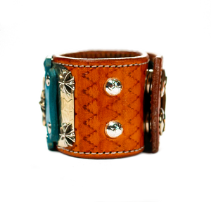 Sir Charles (Sterling Silver) - Turquoise on Brown Leather