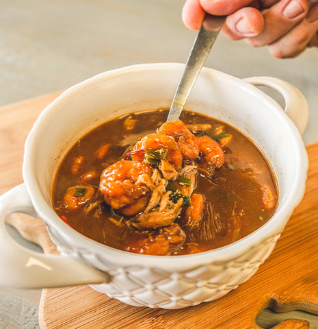 Seafood Gumbo in a bowl