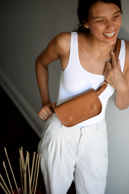 Women's Brown Leather Small Belt-Bag by Jolie Laide