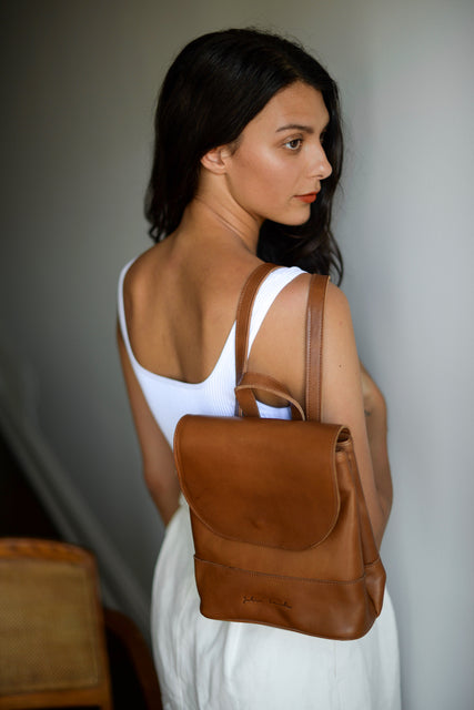 Women's Mini Brown Leather Backpack By Jolie Laide