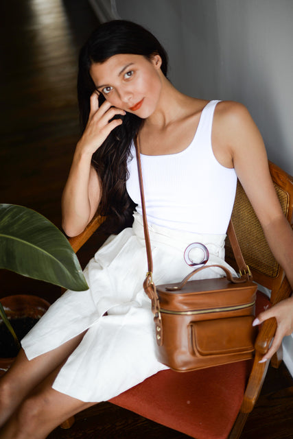 Womens Brown Leather DSLR Camera-bag by Jolie Laide