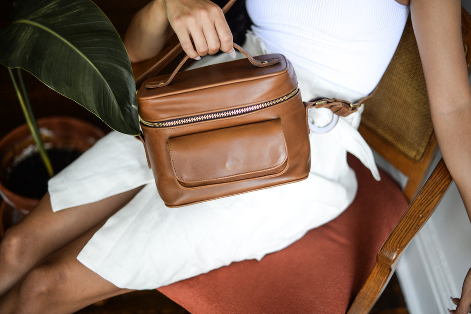 Women's Brown Leather DSLR Camera Bag by Jolie Laide