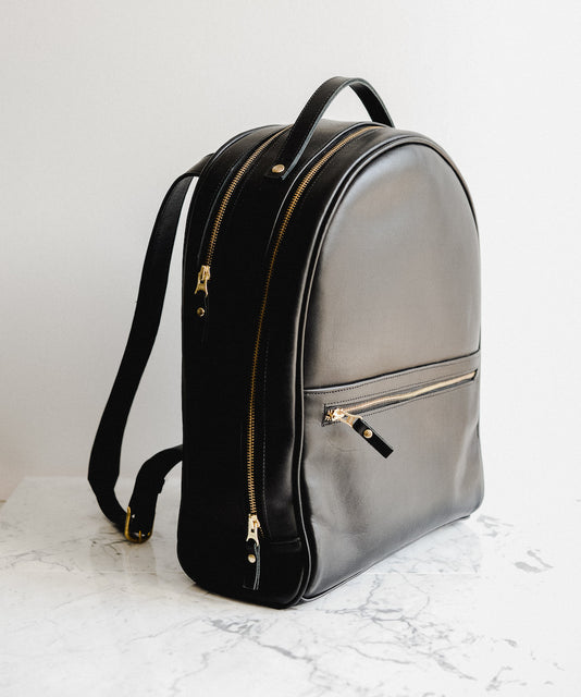 Women's Large Black Leather Backpack by Jolie Laide