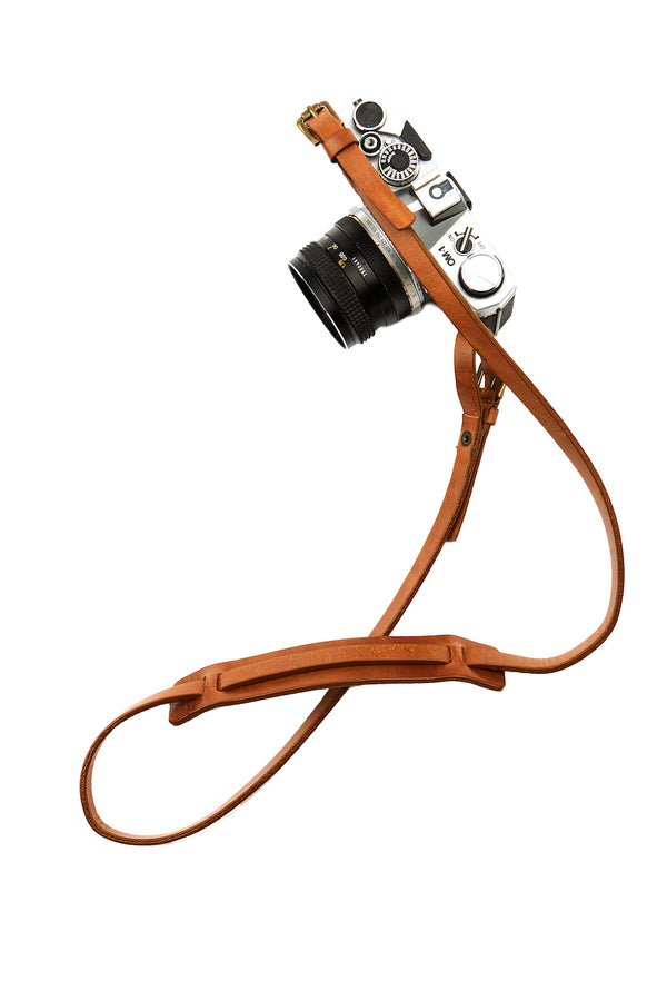 The Brandy Sling Brown Leather Camera Strap