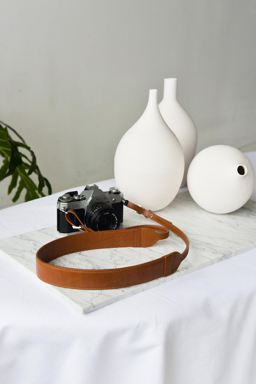 The Classic Brandy Leather Camera Strap by Jolie Laide