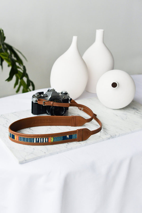 The Modern Indigo Leather Camera Strap by Jolie Laide