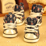 4pcs\lot Autumn Winter Outdoor warm Pet Dog Denim Shoes puppy Canvas shoes small dogs Sport Casual Anti-slip Boots ZL109-2