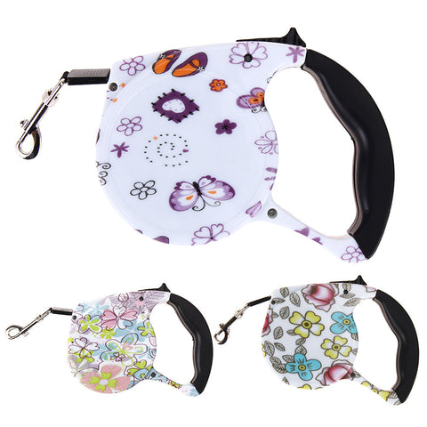 5M Retractable Dog Leash Floral Print Automatic Lead Walking Leash for Dogs Small Medium Pets Dog Products
