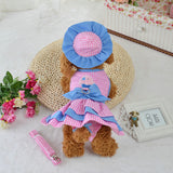 Classic Stylish Pet Dog Dress Clothes Set Lovely Hat Skirt Costume Panties Leash Set of 4pcs