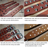Cool Rivets Studded Best Genuine Leather Pet Dog Collars For Small Medium Large Dogs Black Brown  Boxer Bulldog Pitbull XS S M L