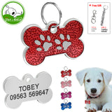Customized Engraved Dog Cat ID Tag Personalized Bone Shape Paw Print Pet NamePlate Puppy Dogs Name Phone No. Tags Free Whistle