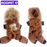 HOOPET Pet Dog Clothes Cute Little Lion Jumpsuits Rompers Four Feet Warm Soft Winter and Autumn 5 Size Brown