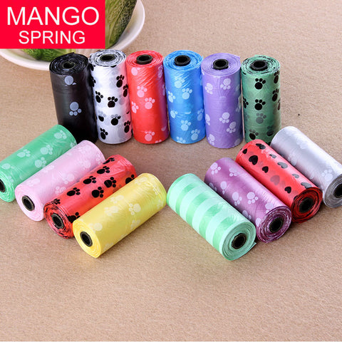 Hot Sale 10Roll=150PCS Degradable Pet Dog Waste Poop Bag With Printing Doggy Bag free shipping