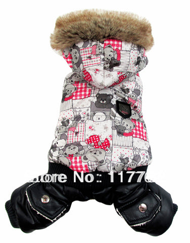 New Arrival Gray Bear Print Pet Dogs Winter Coat Free Shipping Dogs Clothes new clothing for dog
