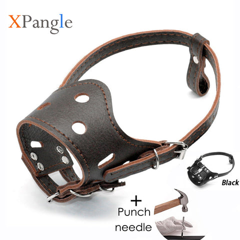 PU Leather Pet Dog Muzzle Adjustable Breathable Mask Anti Bark Bite Chew Safety for Small Large Dogs Mouth Soft Muzzles Training