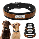 Personalized Large Dog Collars Adjustable Padded Customized Pet Name ID Leather Collar Free Engraving For Medium Large Dogs