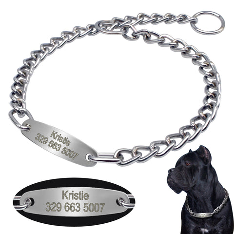 Personalized Pet Dog Chain Choke Collar Pets Training Engraved ID Slip Collars Choker For Medium Large Dogs