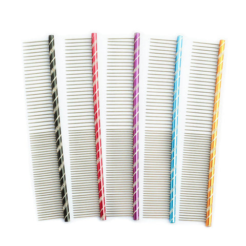 Pet Dog Comb 6062003 Bright Multi-Colored Stripe Grooming Comb For Shaggy Cat Dogs Barber Grooming Tool Salon 5 Color