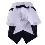 Pet Dogs Wedding Formal Clothes White Shirt Dark Blue WaistCoat with Bow Tie Handsome Dog Apparel Pet Supplies Goods