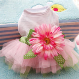 Transer Dog Dress Princess Gauze Mesh Lace Tutu Dresses Sleeveless Tee Dog Clothes with Sunflower For Small Pet Dogs 80105