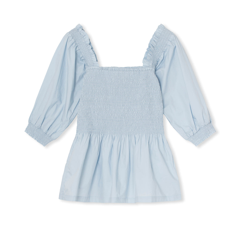 signe smocked top - palest blue