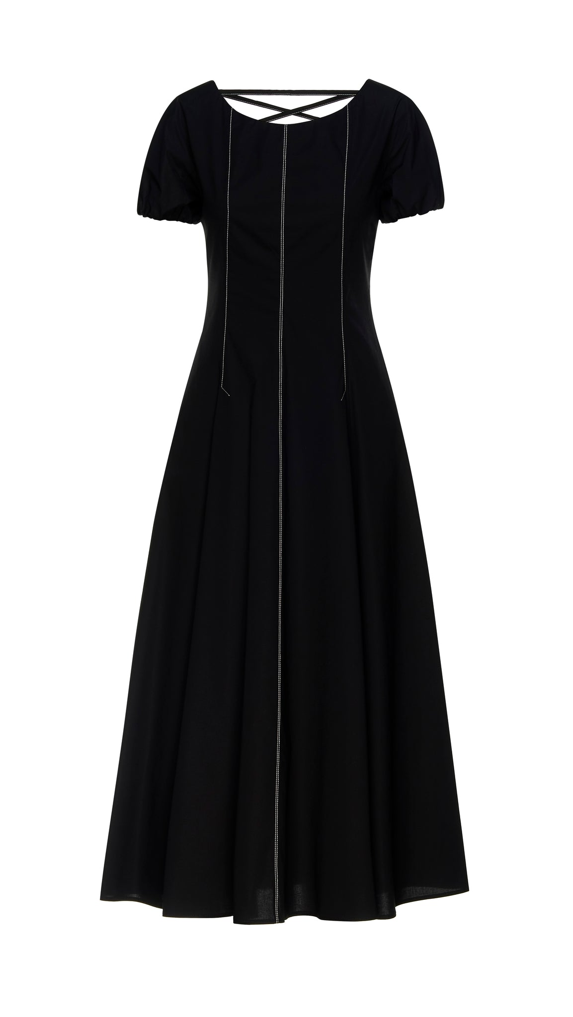 black dress with corset style laces on the rear