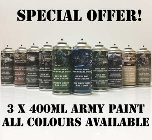 3 x Kings Army Military Spray Paint Matt Finish Save £££ - monster-colors