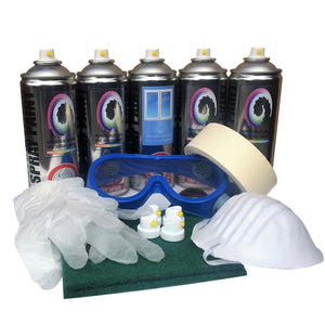 PVC Spray Paint 5 Pack Gloss Finish, 4 x PVC, 1x Prep Clean, Goggles & More - monster-colors