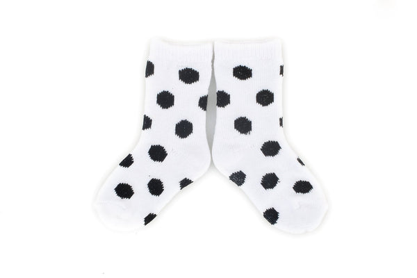 Stay On Baby Sock White Black Dot
