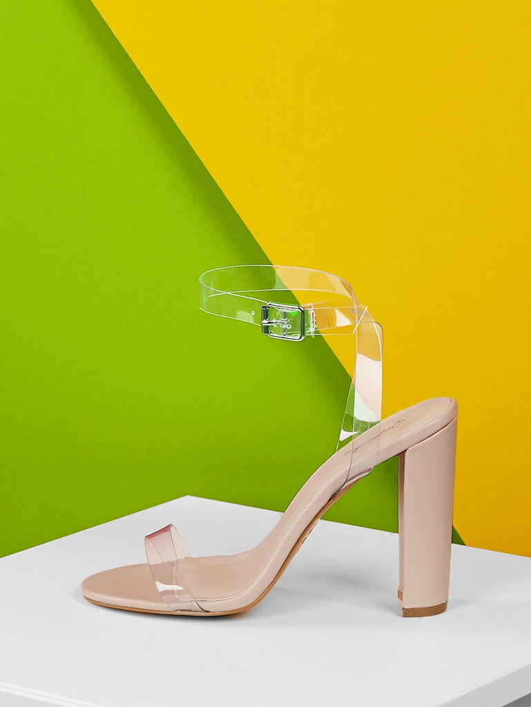Transparent Band Wrap Strap Chunky Heel Sandals