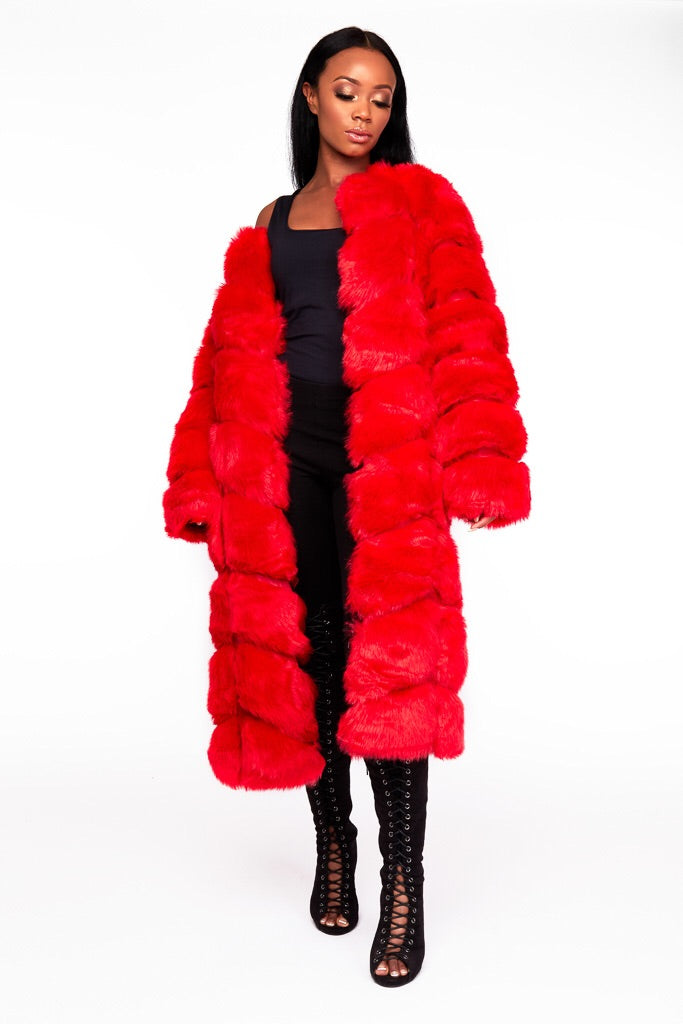 RUBY  red faux fur coat